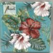 AMB.12513146 Hibiscus Floral Petrol papírszalvéta 25x25cm, 20db-os