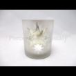 Geh.22002243 Ezüstös üveg mécsestartó csillagos-jégvirágos, 10x8,5 cm