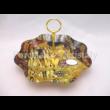 H.C.198-8091 Hullámos szélű üveg sütikínáló Klimt: Csók, 19x30 cm