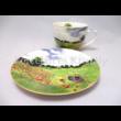 D.G.23336 Porcelán mini-tea szett 2 személyes, 4 részes, Monet: Pipacsmező