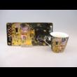 P.P.W8KL363-22413 Porcelán oldaltálcás mini-mokka szett 2 személyes, 4 részes, Klimt: Csók