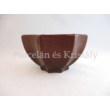 10185 Nyolcszögletű tál piros eosin, 9x16,5 cm