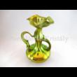 5339 Fodros fülű váza zöld eosin, 22x14x13 cm