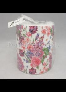 AMB.19111180 Tavaszi virágkompozíció átvilágítós gyertya 12x10cm