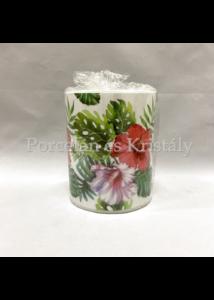 AMB.19113145 Hibiscus Floral Withe átvilágítós gyertya 12x10cm