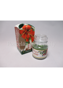 H.C.457-9901 Fenyőfa illatgyertya üvegben, karácsonyi, 10x6,5 cm