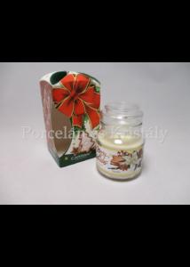H.C.457-9904 Vanília illatgyertya üvegben, karácsonyi, 10x6,5 cm
