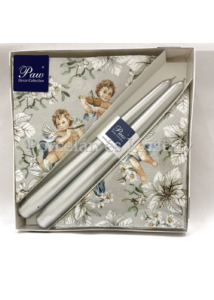 P.W.SSC015108 Angels In Flowers Silver karácsonyi díszdoboz 20 db szalvétával, 2 db gyertyával