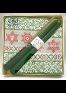 P.W.SSC029300 Winter Plaid karácsonyi díszdoboz 20 db szalvétával, 2 db gyertyával