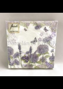 AMB.12509310 Purple Wildflowers papírszalvéta 25x25cm, 20db-os