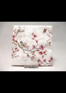 AMB.12511215 Madár virágzó faágon papírszalvéta 25x25 cm, 20 db-os