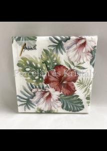 AMB.12513145 Hibiscus Floral White papírszalvéta 25x25cm, 20db-os