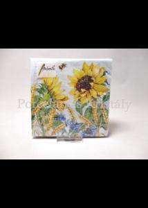 AMB.12513276 Napraforgó búzavirággal papírszalvéta 25x25 cm, 20 db-os