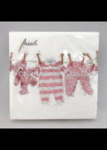 AMB.12513980 Rózsaszín kislány ruhák papírszalvéta 25x25 cm, 20 db-os