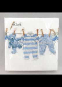 AMB.12513985 Kék kisfiú ruhák papírszalvéta 25x25 cm, 20 db-os