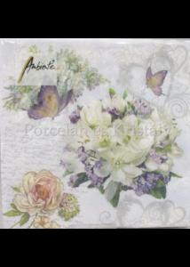 AMB.13314085 Szeretett virágok papírszalvéta 33x33 cm, 20 db-os