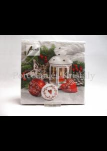 AMB.32513420 Fehér lámpa karácsonyi papírszalvéta 25x25cm, 20 db-os