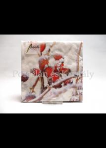 AMB.32513455 Fagyott csipkebogyó karácsonyi papírszalvéta 25x25cm, 20 db-os