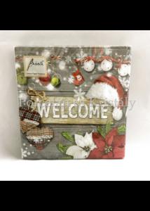 AMB.33310586 Welcome Santa Grey karácsonyi papírszalvéta 33x33cm, 20db-os