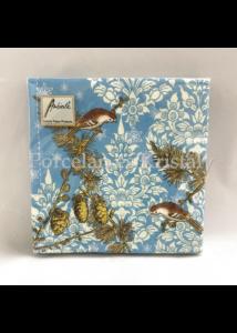 AMB.33310790 Pinecone Ornaments Blue papírszalvéta 33x33cm, 20db-os