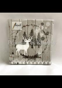 AMB.33311960 Wooden Scene Grey karácsonyi papírszalvéta 33x33cm, 20db-os