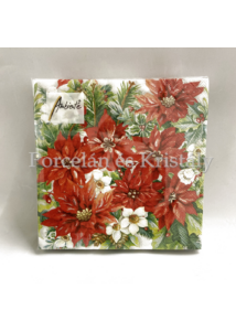 AMB.33313570 Poinsettia All Over karácsonyi papírszalvéta 33x33cm, 20db-os