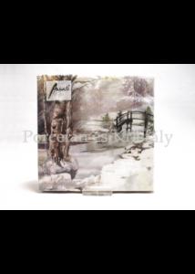 AMB.33314715 Téli táj karácsonyi papírszalvéta 33x33cm, 20 db-os