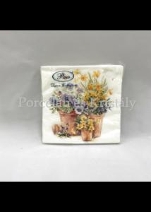 P.W.SDL076600 Pansies in a Pot papírszalvéta 33x33cm, 20db-os