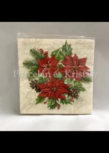 VRP-V/PIR-MIKULÁSVIRÁGOS karácsonyi papírszalvéta 33x33cm, 15 db-os