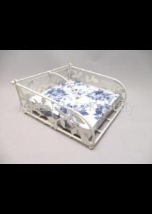 AMB.19402230 Krém fém szalvétatartó, leveles, 8x18x18 cm