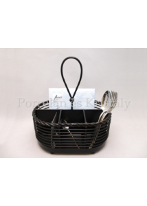 K.C.5153172 Antikolt fekete fém szalvéta és evőeszköztartó 30x26x17 cm