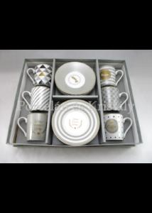 R2S.126CMHA Happy porcelán mokkacsésze szett 6 személyes, 12 részes, díszdobozban