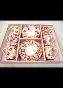 R2S.126POWP Rózsaszín virág porcelán mokkacsésze szett 6 személyes, 12 részes, díszdobozban