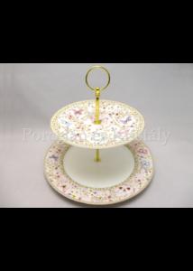 R2S.1352MAJB Pillangós porcelán süteményes kínáló, 2 szintes, díszdobozban