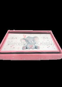 T.L.C.LP44756 Rózsaszín műbőr tárolódoboz Ellie elefánt, 21x35x24 cm