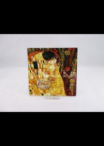 H.C.198-1071 Üvegtál Klimt: Csók, 0,5x13x13 cm