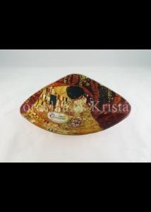 H.C.198-1131 Háromszögű üvegtál Klimt: Csók, 4,5x17x17 cm
