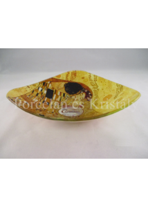 H.C.198-1132 Háromszögű üvegtál Klimt: Csók, 4,5x17x17 cm