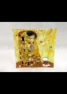 H.C.198-1151 Üvegtál Klimt: Csók, 7,5x30x30cm
