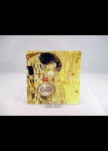 H.C.198-1241 Üvegtál Klimt: Csók, 0,5x13x13 cm