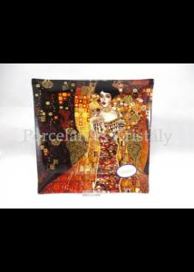 H.C.198-1502 Üvegtál Klimt: Adél, 2x25x25cm