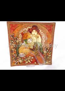 H.C.198-1802 Üveg süteményes kínálótál lapáttal Mucha: Topáz, 2x25x25cm