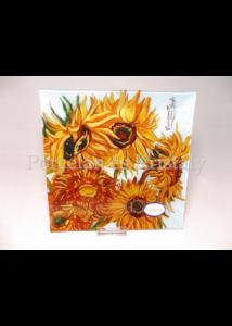 H.C.198-3007 Üvegtál Van Gogh: Napraforgók, 2x28x28 cm