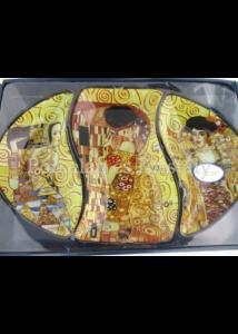 H.C.198-7001 Üvegtál szett 3 részes Klimt képek, 3x23x37 cm