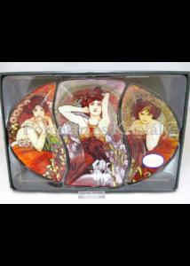 H.C.198-7002 Üveg tányér-szett 3 részes: Mucha vegyes 38x26,5cm