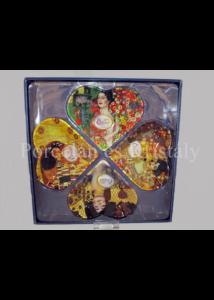 H.C.198-7005 Üveg szívtányér-szett 4 részes: Klimt  vegyes 33x33cm