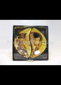 H.C.198-7023 Üvegtányér szett 2 részes Klimt: Csók-Várakozás, 3x21x24 cm