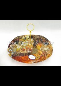 H.C.198-7028 Üveg süteményeskínáló 4-es osztású Klimt képekkel, 19x34,5 cm