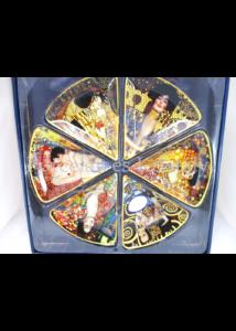H.C.198-7030 Üvegtál szett 6 részes Klimt képek, 2x32 cm