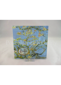 H.C.198-7308 Üvegtál Vincent Van Gogh: Mandulavirágzás, 0,5x13x13 cm